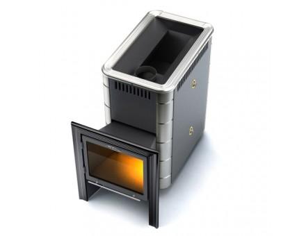 Дровяная печь-каменка «Термофор» Тунгуска 16Л «Витра», антрацит с теплообменником